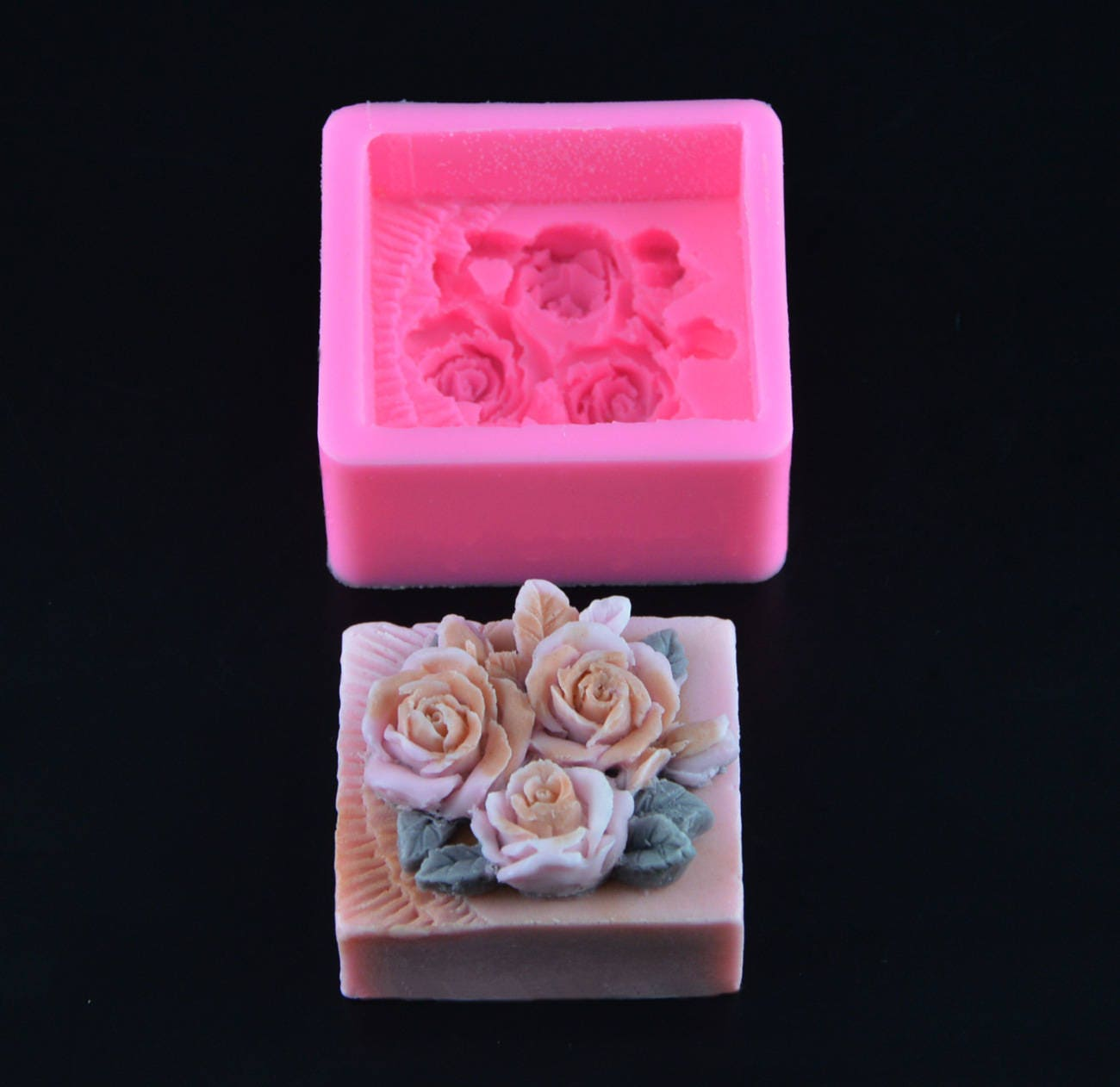 3D Floral Rose Soap Silicone Mold - Fondant Cake Decorating Tools ...