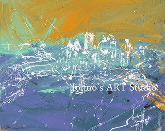 Modern pittsburgh art, Abstract wall art, city skyline wall art, Print by Johno Prascak, Pittsburgh art