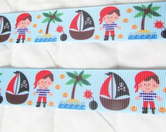 Ahoy Matey Pirate Grosgrain Ribbon-  - 7/8 in.wide x 3 or 5 yards
