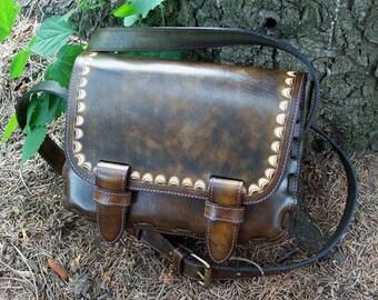 Leather Handbag Jelena M antilope color - olive green - handmade leather bag - crossbody bag