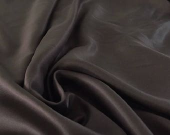 100% silk Brown Twill weave fabric