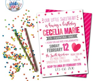 Valentine's Party Invitation, Valentine's Birthday Party Invite, Sweetheart Party Invitation