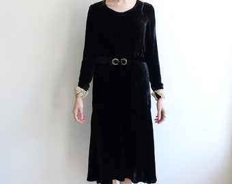 1920s Black Silk Velvet Dress with Lace Cuffs and Rhinestone Belt/ 20s Long Sleeve Belted Dress/ Medium