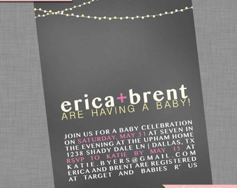 Coed Baby Shower Invitation | Couples Shower | Backyard String Lights | Light Strands | Item BA106