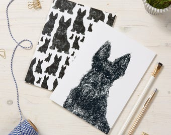 Scottish Terrier Notepads / Scottie Dog pattern notebooks / A5 Dog Jotters / 2 in a pack