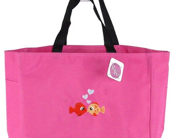 Kissing Fish & Heart Bubbles Monogram Bag Hot Pink READY TO SHIP! Essential Custom Embroidered Tote
