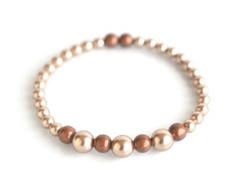 Pearl stretch beaded bracelet, copper pearl bead bracelet, pearl bracelet, copper pearl jewelry, women's jewelry, jewelry on sale, for her