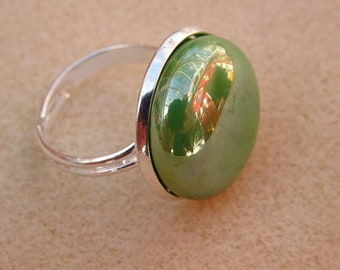 Green Glass Pebble Rings 1.8 cm  3 colours