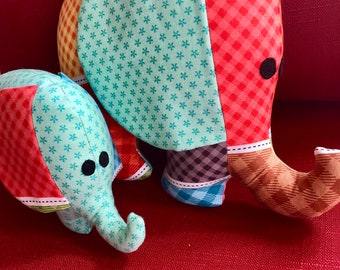 Handmade elephant plushie, stuffed toy, stuffed animal