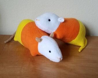 Handmade Candy Corn Rat Plushie Stuffed Animal Toy