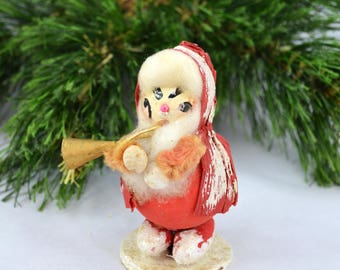 Vintage Paper Mache Santa Playing A French Horn, Mid Century Paper Mache' Santa Made In Japan