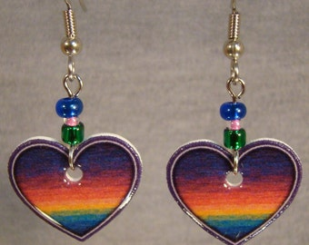 Rainbow Heart Dangle Earrings - Pastel Jewelry - Love