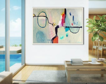 Large abstract print, abstract painting print, large abstract canvas art print, large abstract giclee print, abstract artwork, Stop Show