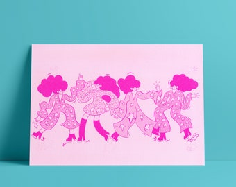 Diva Line Up - A3 Risograph Print