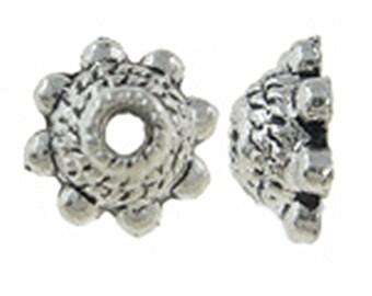20pc 8mm antique silver finish metal bead caps-B19