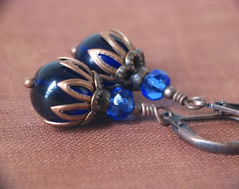 Deep Twilight - Dark Blue Czech Glass and Antiqued Copper Earrings