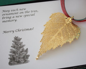 Birch Leaf Ornament Gold, Birch Leaf, Birch Leaf Extra Large, Ornament Gift, Christmas Card, ORNA74