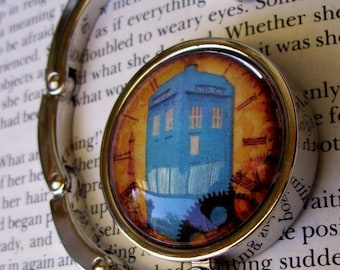 Doctor Who Bag Hanger (H100) - Purse Hook -  TARDIS Artwork Under Glass