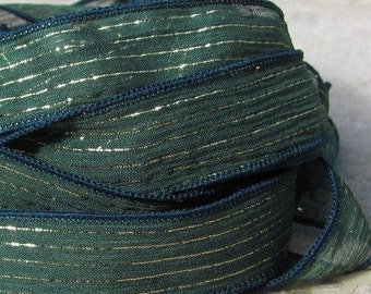Evergreen Fizz Silk Ribbons, Qty 5 Hand Dyed Silk Strings, Evergreen with Gold Metallic Pinstripe Stringing Supplies Jewelry Making Supplies