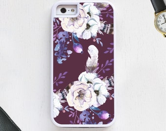 Boho feather floral Daisy flower clusters purple Cell Phone Case protective bumper cover iPhone6 iPhone7 Android s5 s6 s7 note4 note97
