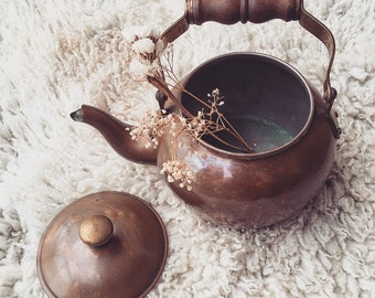 Vintage Copper Tea Pot, Tea Kettle with Brass and Wood Handle, Antique Copper Natural Patina
