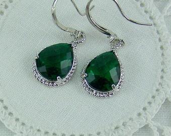 Emerald Crystal Earrings, Silver Bezel Set Earrings, Emerald Teardrop Earrings, Deep Green Crystal Earrings, Rhinestone Set Earwire, Emerald