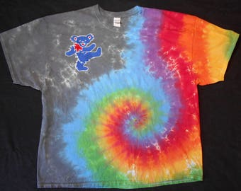 Rainbow Grateful Dead Dancing Jerry Bear Batik 3X-Large Shirt #145