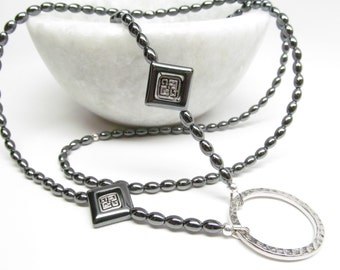Silvery black eyeglass holder; Celtic lanyard, Black lanyard, eyeglass necklace holder, reading glasses lanyard, ID badge holder, landyard