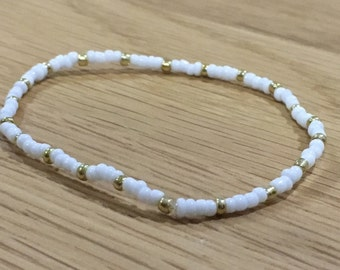 Seed bead White with Gold and Silver Bracelet