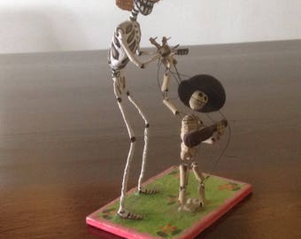 Mexican Day of the Dead Mariachi Figure with his Inspiration