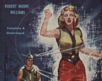 The Blue Atom - 10x16 Giclée Canvas Print of Vintage Pulp Science Fiction Paperback