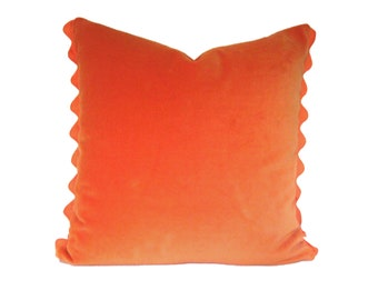 Orange Pillow Cover - Orange Velvet PIllow Cover with Ric Rac Trim