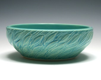 Turquoise Pottery Bowl, Leaf Design, Shallow Bowl, Turquoise Bowl, Home Decor, Blue, Aqua, Handmade Pottery