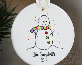 Personalized Family Ornament Personalized Holiday Ornament Personalized Snowman Ornament Item# SM097-F-O