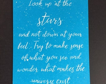 Inspirational Stephen Hawking calligraphy post card