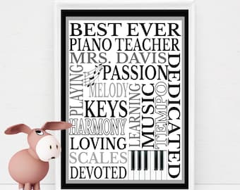 Personalized Piano Teacher Gift Subway Wall Art DIY Print Customized with Teacher's Name & You Print at Home