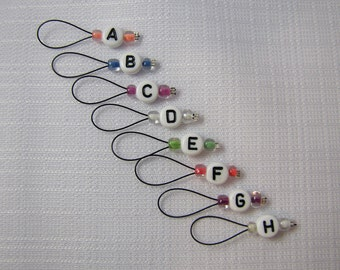 ABC's - Eight Snagless Stitch Markers - Fits Up To 5 mm (8 US)