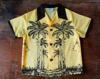 Vintage 1950s Childs Tropix Palm Tree Hawaiian Shirt, Sz 6
