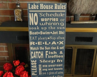 Lake Rules, 12x36 distressed rustic lake decor. Personalized lake signs, great Father's day gift, summer decorating
