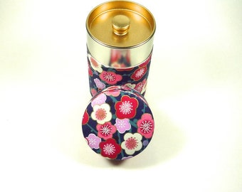 UME / Plum flower, Canister(S), wrapped beautiful Japanese traditional paper (washi), for tea, coffee