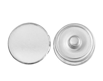 20 pcs. Silver Tone Chunk Snap Popper Bases Buttons - 18mm Glue Pad - Bezels for 18mm Cabochons / Glass Tiles