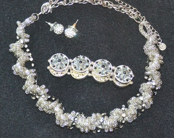 NECKLACE, BRACELET & EARRINGS. Necklace, Twisted silvertone, strips of Rhine. Bracelet, circles with  Rhine Stars,Ear Rhine Ball Studs
