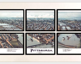 Pittsburgh Map. FRAMED Map set of 6 Archival Prints, Sectional Map Set with 6 frames 11x14