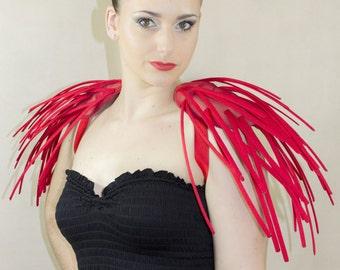 Fantasy red boned crinoline pistils shoulders.