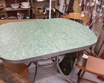 1950s  Oval Formica Table with Turquoise Green Top with Chrome Pedestal Legs