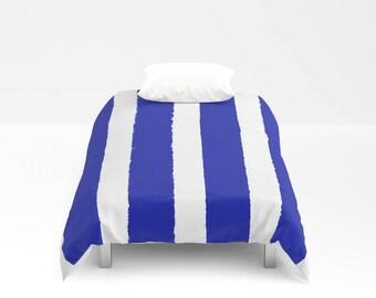 Azure Blue and White Stripe Duvet cover . Duvet cover . Blue bedding . Twin XL duvet . queen duvet cover . king duvet cover . bedding