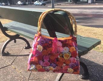 Floral handbag, shopping bag, shoulder bag, cane handle bag