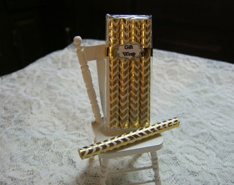 Dollhouse Gift Wrap Miniature Birthday Paper  -Gold Chevron Design