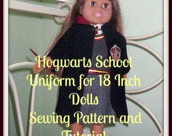 Hogwarts School Uniform Sewing Pattern - American Girl Dolls, Hermoine Granger, Griffyndor Uniform 18 inch Doll - Hard Copy Sewing Tutorial