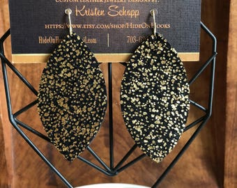 Gold and Black Speckled Leather Earrings